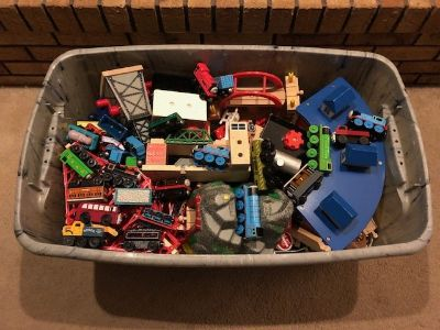 Bin of Wooden Train Sets