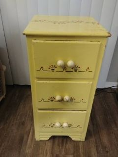 Yellow artsy small 3 drawer small dresser side table