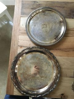 Two vintage silver trays - 10.5 and 12