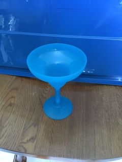 Light Blue reusable plastic margarita glass