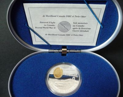 1999 1 OZ STERLING SILVER WITH GOLD PLATING DE HAVILLARD DHC-6 TWIN OTTER