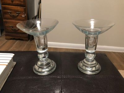 Two glass candle stick holders. $4 for both