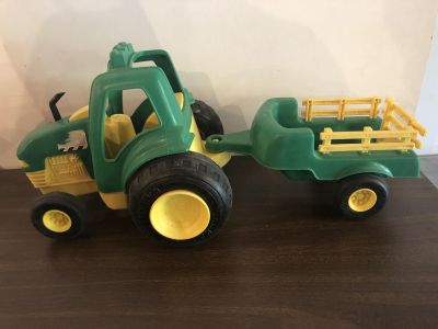 Toy tractor and wagon - plastic