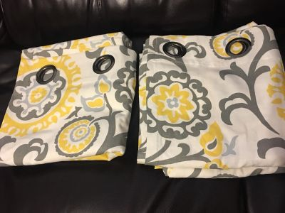 Set of 2 curtains. Grey and yellow. 96 . $18 for both.