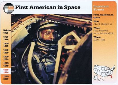 First American in Space Alan Shepard, Jr- Grolier Story of America Card