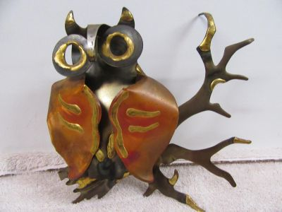 """copper and brass Owl on limb 8 x 7"""" tall"""