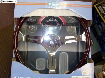 EMPI Dark Wood Steering Wheel and Adapter