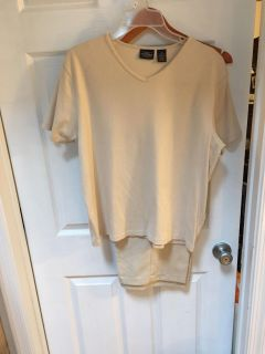 Beige outfit suede lightweight pants with short sleeve top
