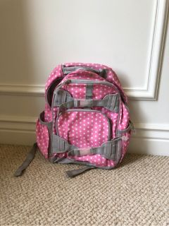 Pottery Barn kids light pink polka dots backpack