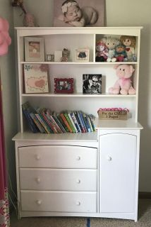 Stork Craft Beatrice White Dresser and Removable Hutch