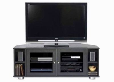 Majestic Angle Solid Wood Black Media Cabinet