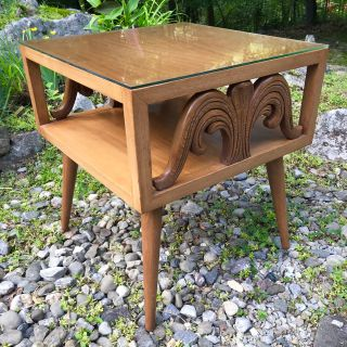 Mid Century Side Table Carved Glass Top
