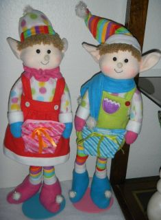 "25"" Standing Plush Elf Boy & Girl Set Figures Christmas Decorations Elves Whimsical Felt"