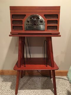 Crosley CR66 Rochester 5 in 1 Entertainment Center with Manchester Record Stand