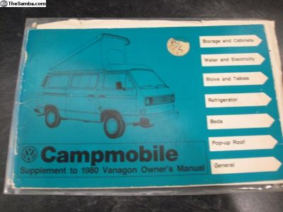 Camper Manual Campmobile Vanagon Supplement