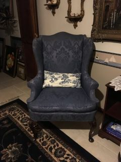 1Wing Back Queen Anna Chairs Blue