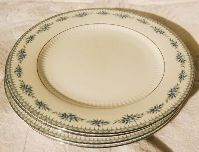 Set of 4 White with Blue Flowers Ceramic Dinner Plates