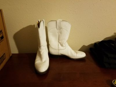 Justin White 7.5 Cowgirl Cowboy Boots Country Farm Barn Halloween Costume NFL Cheerleader Texans...