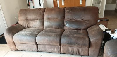 Microfiber couch and love seat recliners