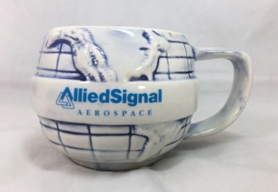 AlliedSignal Aerospace Coffee Mug Cup 16oz Blue White Round World Globe Vintage