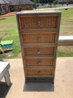 Tall Wicker and Wrought Iron Dresser