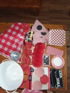 Red & White Checkered Party Decoration and Supplies