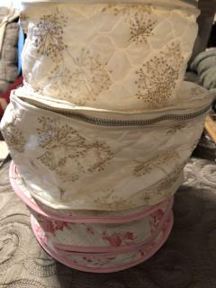 3 vintage dishes storage quilted bags