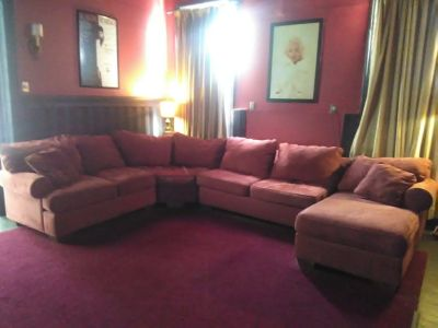 GIANT 4 PIECE BAUHAUS SECTIONAL SOFA COUCH MERLOT MICROSUEDE