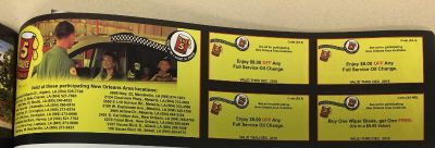 Take 5 minute oil change coupon (2) not 4