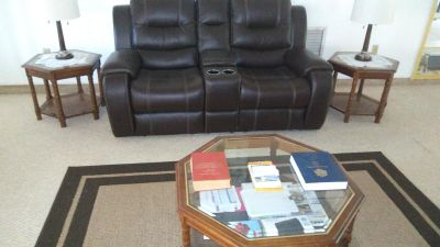 Double recliner brand new two end tables octagon Center table and rug brand new