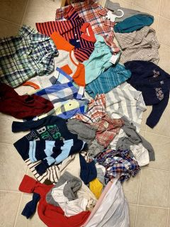 New and EUC Baby boy sizes 18 and 24 mo clothes lot - Large kitchen trash bag full