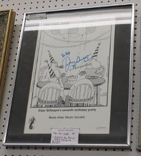 Far Side Cartoon, Autographed by Dizzy Gillespie