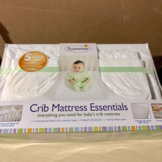 5 Piece Baby Crib Sheets and Waterproof Pads Set