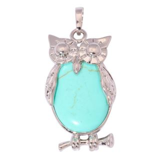New - Light Blue Owl Pendant (Includes a chain)