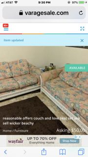 $20 if pu. Today! Both love seat and couch. Sea shell print. White wicker