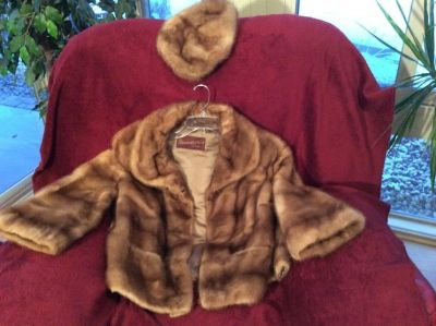 Vintage mink fur jacket with matching pillbox hat