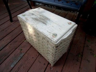 antique wood and wicker hamper rose decals white chippy paint chic and shabby