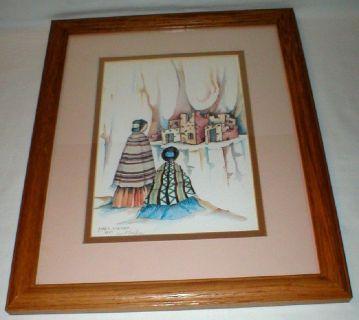 """Janet Haefner Signed Southwest Art Print - 12 1/2"""" x 15 1/2"""" Framed"""