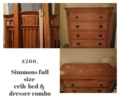 Simmons crib-full size bed & dresser combo