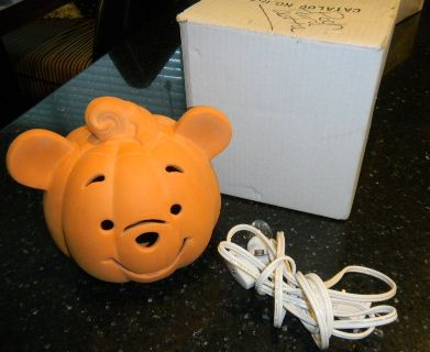 Ceramic Terra Cotta Disney Winnie The Pooh Light Up Pumpkin Halloween Decor Night Light Table Lamp