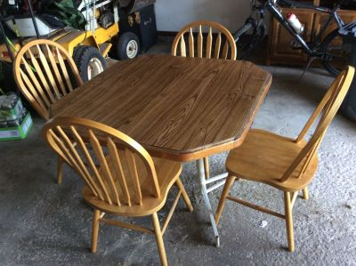 Kitchen table and Four Oak Chairs