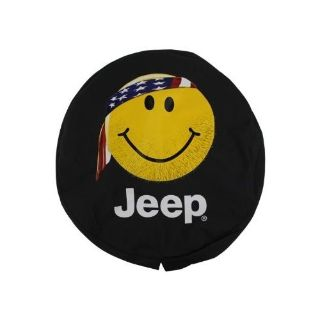 Used Jeep Genuine Accessories 82212306 Cloth Spare Tire Cover with Smiley Face Logo