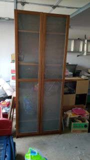 Tall cabinet. Frosted glass doors. IKEA