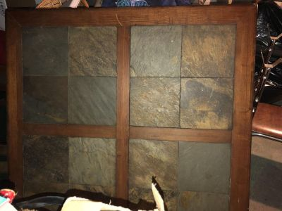 Large kitchen table- solid wood slate -bar height - seats 8
