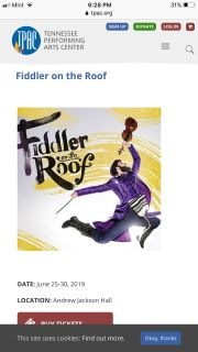 2 tickets to Fiddler on the Roof TUESDAY