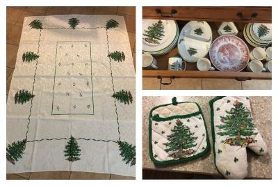 39 piece lot Spode Christmas tree dishes