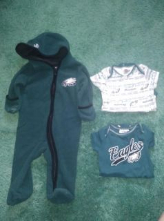 3 Piece Philadelphia Eagles Baby Clothing Lot Size 3 - 6 Months 2 Onesies Winter Fleece Outdoor Sleeper with Hood and Hand Coverings