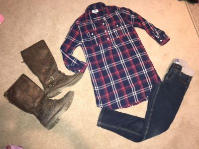 Old Navy size 8 flannel dress/tunic (jeans for sale in other post, boots not for sale at this time)