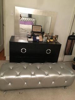 Dresser with mirror and two night stands