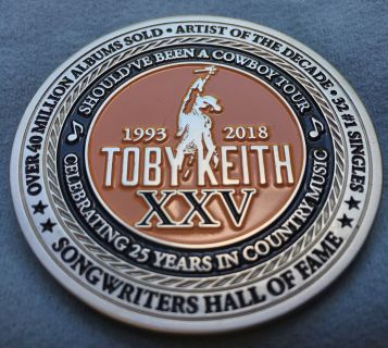 Please see all 3 pic s 2 sided Toby Keith 25th anniversary coin given to Tour Crew Members!! Patriotic!!!